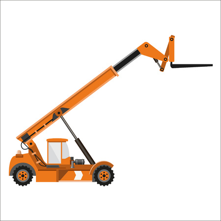 fork lifts trucks: Telescopic handler equipped with fork. Vector illustration, side view.