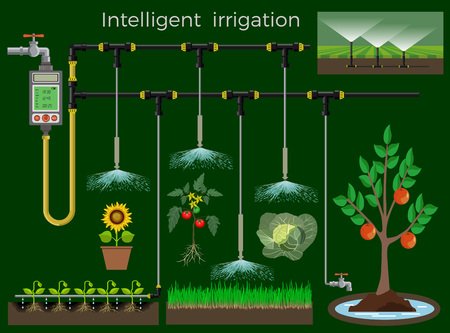 Intelligent irrigation system. Vector illustration
