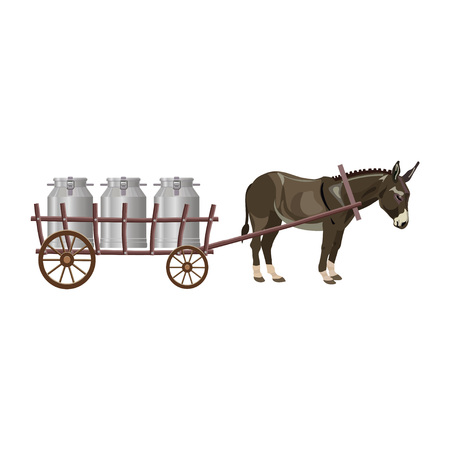 Donkey cart with milk cans. Vector illustration Illustration