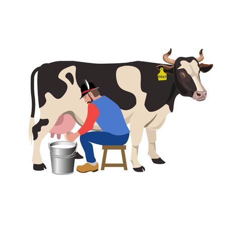 L'agriculteur traite une vache. Illustration vectorielle Banque d'images - 79939104