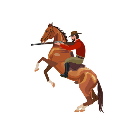 Cowboy riding horse with gun. Vector illustration