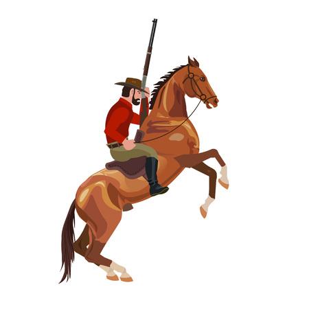 Cowboy on rearing horse. Vector illustration Ilustração