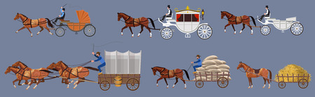 Set of vector horse-drawn vehicle. Vector illustration