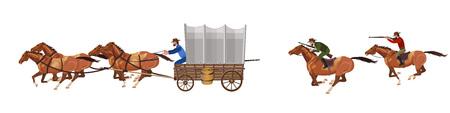 Uzbrojeni jeźdźcy ścigają stagecoacha. Ilustracji wektorowych