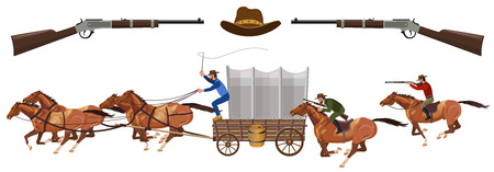 Armed riders chasing a stagecoach. Vector illustration Illustration