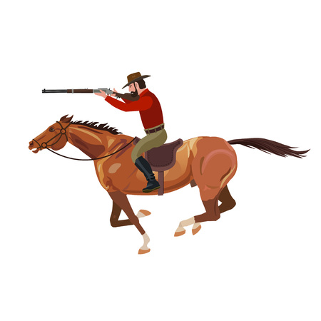 Cowboy aiming rifle from horse. Vector illustration