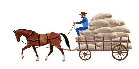 Horse ?art loaded with bags. Vector illustration Illustration