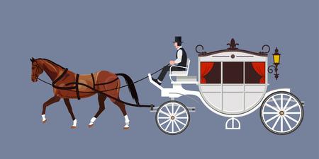 Carro blanco con semental de bahía y cochero Ilustración de vector
