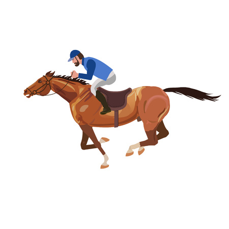 Horseman galloping on horse. Vector illustration on the white Illustration