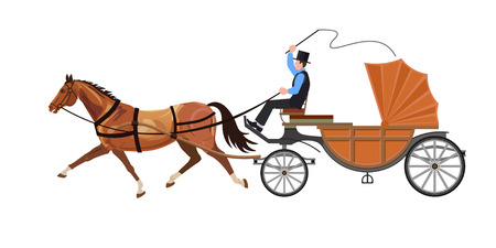 Horse carriage. The horse runs trotting. Vector illustration