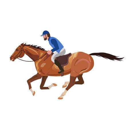 Horseman galloping on horse. Vector illustration Illustration