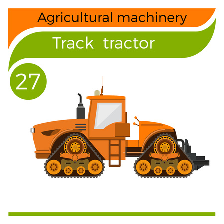 Four-track tractor. Vector illustration