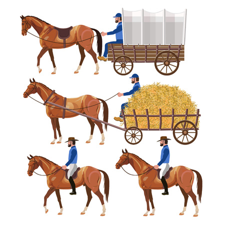 Western theme with horse carriage and riders. Vector illustration Çizim