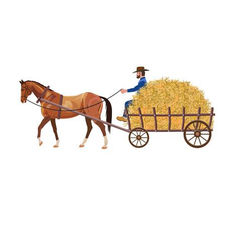 Farmer with hay cart. Vector illustration