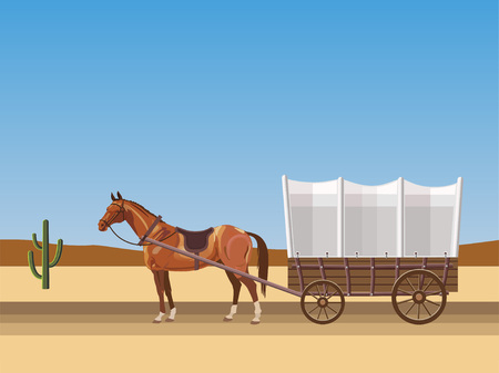 Horse-drawn covered wagon. Vector illustration 向量圖像