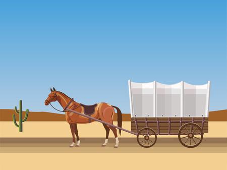 Wagon couvert tiré par des chevaux. Illustration vectorielle Vecteurs