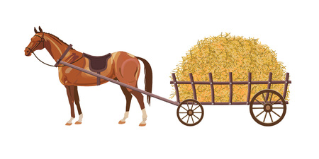 Horse with cart full of hay. Vector illustration