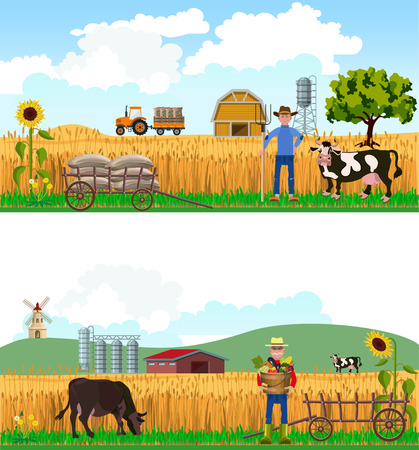 Farmers and cows on farm background. Vector illustrations Illustration