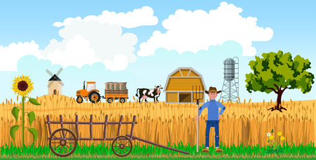 Farmer with pitchfork on farm background. Vector illustration