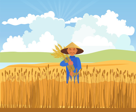 Farmer harvesting wheat. Vector illustration Illustration