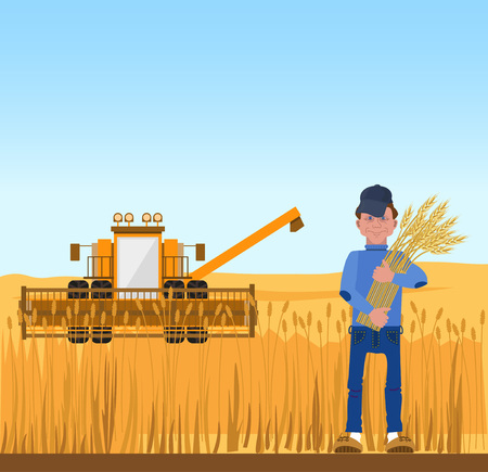Farmer harvesting wheat and harvester. Vector illustration