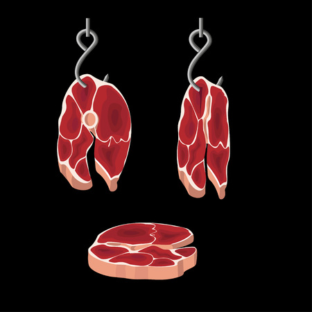Set of beef round steaks. Vector illustration