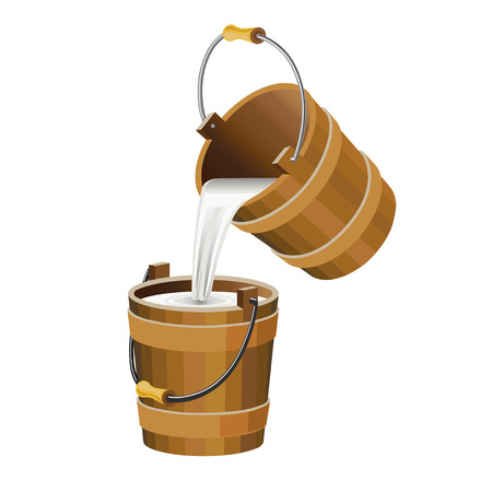 Pouring the milk into the wooden bucket. Vector illustration