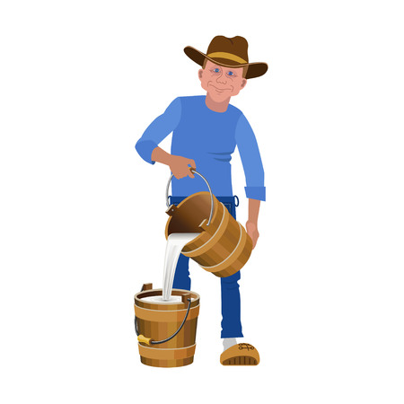 A Farmer pouring the milk from the bucket. Vector illustration.