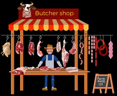 Butcher shop with meat seller and products. Vector illustration