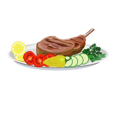 Fried ribs on the plate with vegetables. Vector illustration