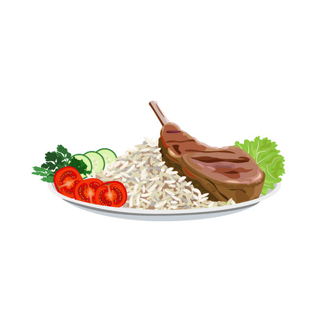 Fried ribs on the plate with rice and vegetables. Vector illustration