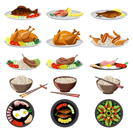 Food dishes set: fish, chicken, meat, rice, vegetables. Vector illustration. Stock Illustratie