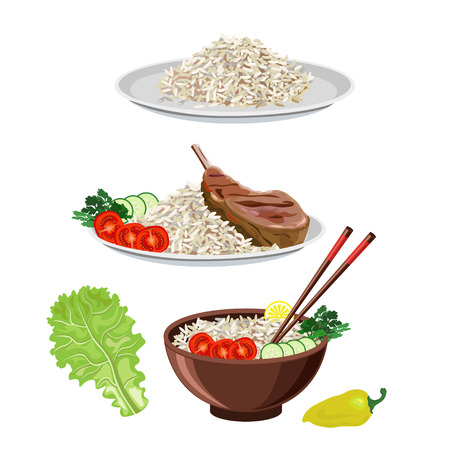 fried: Food dishes set: rice and meat with vegetables. Vector illustrations
