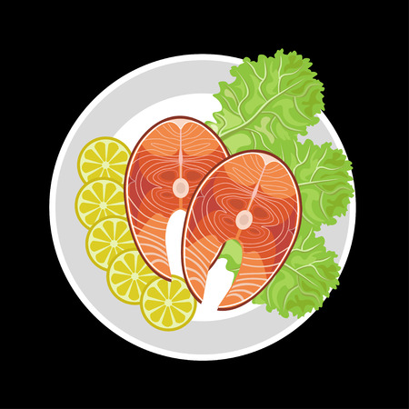 Salmon steak with lemon and lettuce. Vector illustration