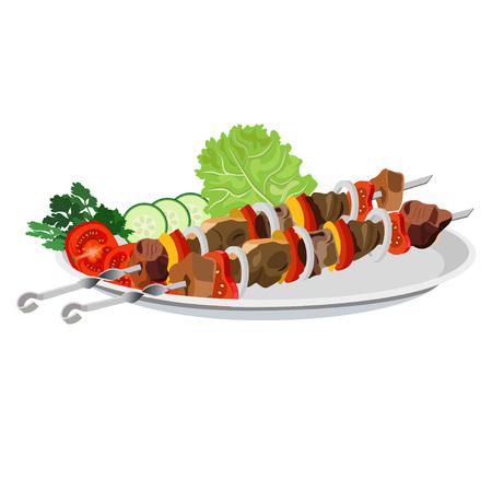 Shish kebab on the plate. Vector illustration