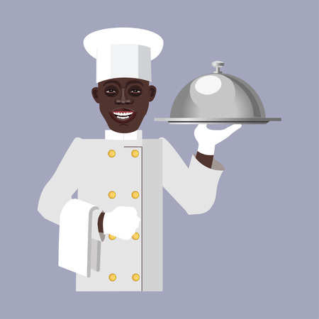 Black chef holding a tray. Vector illustration