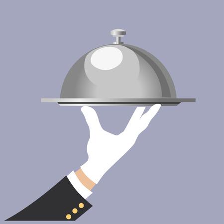 Hand of waiter with serving tray. Vector illustration Иллюстрация
