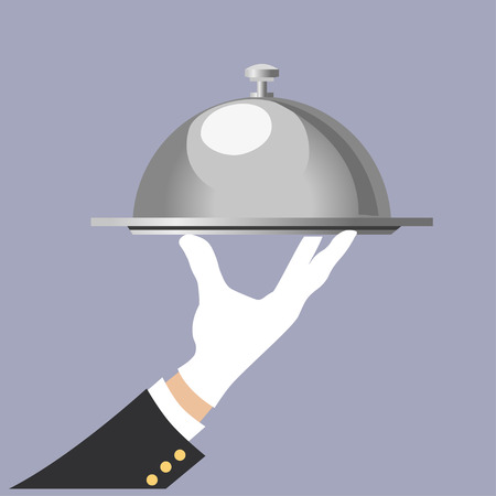 Hand of waiter with serving tray. Vector illustration Illustration