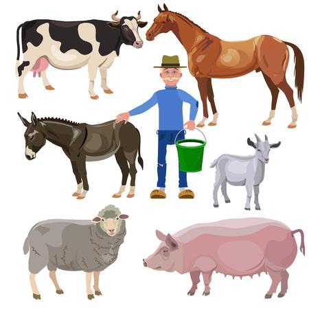 kine: Farmer with farm animals. Vector illustration