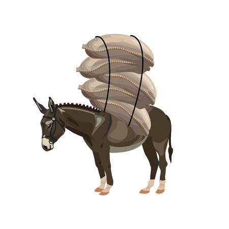 Donkey laden with sacks. Vector illustration Stock Illustratie
