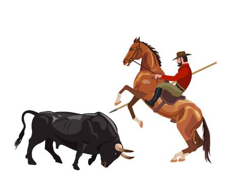 Cavaleiro auf dem Pferd kämpfen mit dem Stier. Vektor-Illustration