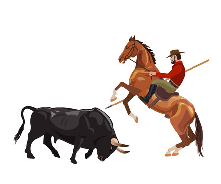 Cavaleiro on the horse fight with the bull. Vector illustration