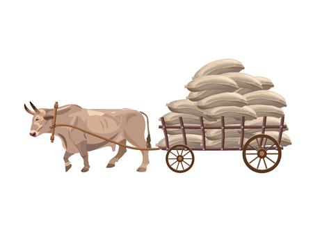 Bull pulls cart with sacks . Vector illustration