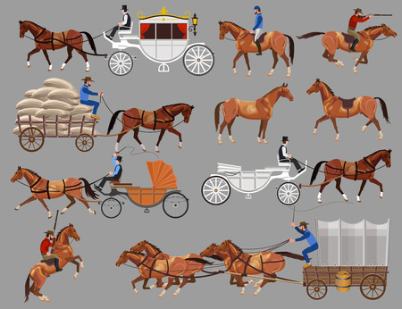 Set of vector illustration with horses and horse-drawn vehicles.