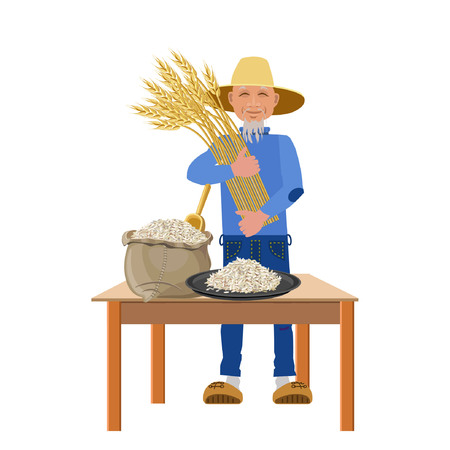 Farmer with rice. Vector illustration