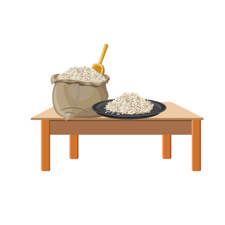 Rice on a plate and in a bag on wooden table. Vector illustration