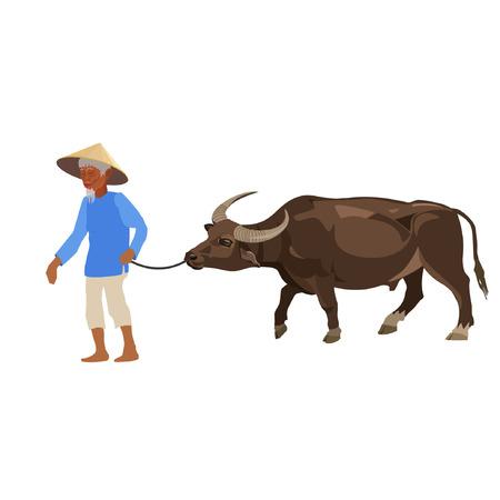 Een boer die waterbuffel leidt. Vector illustratie op het wit. Stock Illustratie