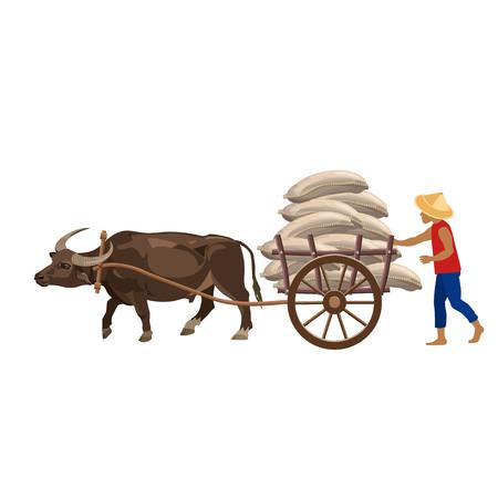 Carro de bueyes y granjero. Ilustración del vector