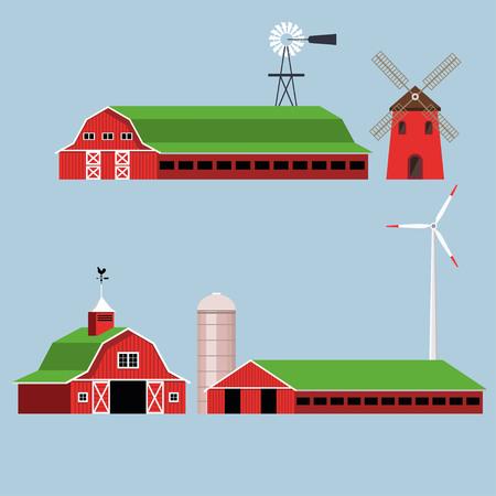 Set van boerderijen. Vector illustratie