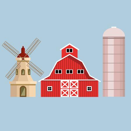 grain: Set of farm buildings. Vector illustration